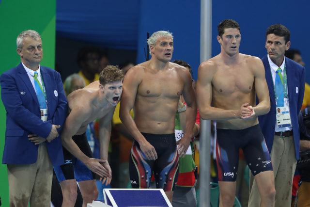 Michael Phelps, Ryan Lochte, Townley Haas, Conor Dwyer, 4x200 Free relay gold - 2016 Rio Olympics/photo credit Simone Castrovillari