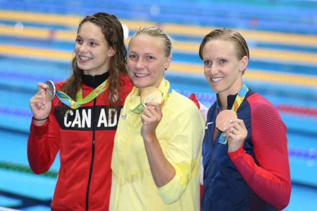 Penny Oleksiak, Sarah Sjostrom, Dana Vollmer - 2016 Olympic Games in Rio -courtesy of simone castrovillari