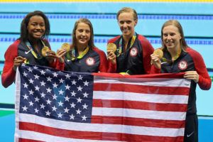 Simone Manuel, Kathleen Baker, Dana Vollmer, Lilly King - 2016 Olympic games - courtesy of Simone Castrovillari