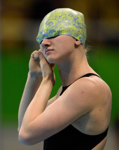 Kateryna Tkachuk UKR prepares for the start of the Women's 100m Backstroke - S11 Final at the Olympic Aquatics Stadium. The Paralympic Games, Rio de Janeiro, Brazil, Friday 9th September 2016. Photo: Bob Martin for OIS/IOC.  Handout image supplied by OIS/IOC
