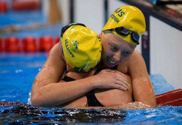 Lakeisha Patterson AUS celebrates with her team mate Maddison Elliott AUS after winning the Gold Medal and breaking the world record the Women's 400m Freestyle - S8 Final in the Olympic Aquatics Stadium. The Paralympic Games, Rio de Janeiro, Brazil, Thursday 8th September 2016. Photo: Bob Martin for OIS.  Handout image supplied by OIS/IOC