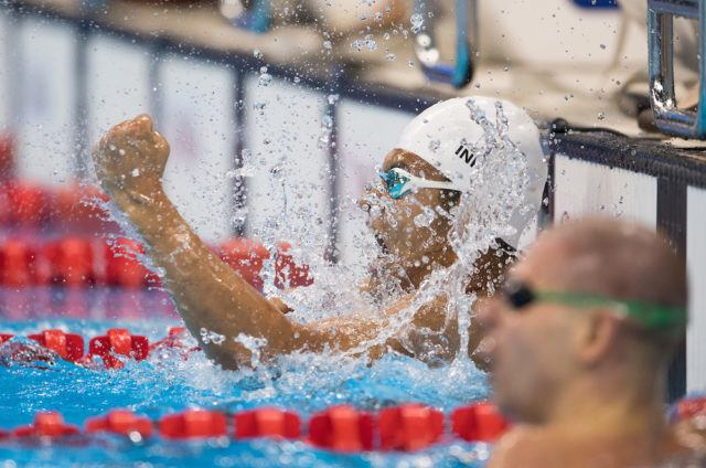 In Kook Lee KOR  wins the Men's 100m Backstroke - S14 Final in the Olympic Aquatics Stadium. The Paralympic Games, Rio de Janeiro, Brazil, Thursday 8th September 2016. Photo: Bob Martin for OIS.  Handout image supplied by OIS/IOC