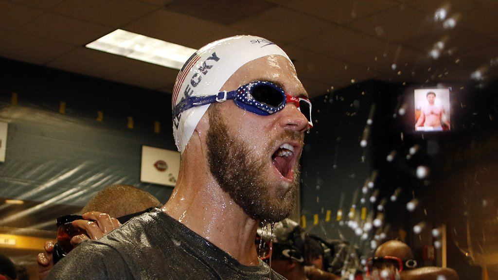 Bryce Harper Rocks Katie Ledecky in Washington Nationals Celebration