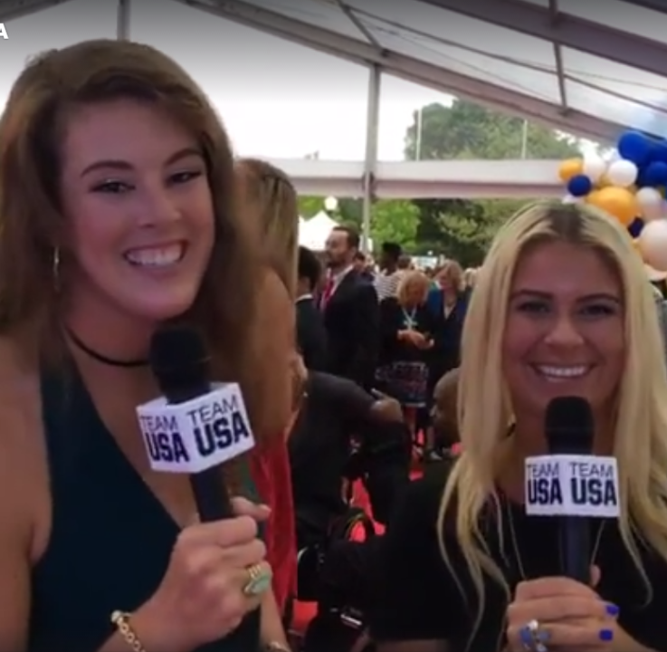 Watch: Allison Schmitt & Elizabeth Beisel Host USOC Awards Red Carpet