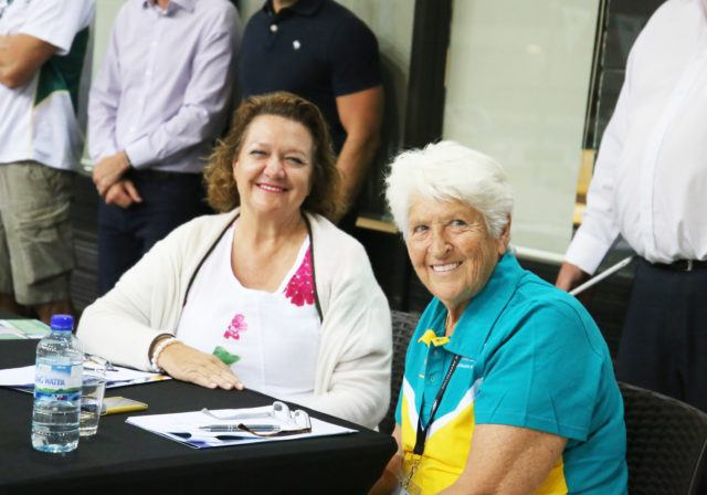 Georgina Hope 'Gina' Rinehart (left) & Dawn Fraser (right), courtesy of Swimming Australia