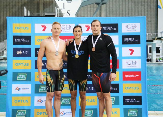 Men's 200m freestyle podium: Cameron McEvoy (gold, center), Daniel Smith (silver, left), Kyle Chalmers (bronze, right); courtesy of Swimming Australia