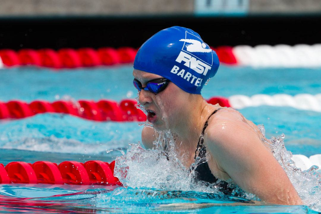 Bartel Wins 2 More, Breaks 200 Breaststroke Meet Record in Iowa City