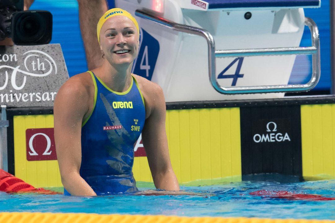 Sarah Sjostrom Breaks Steffen's Super-Suit Record in 50 Free Semi