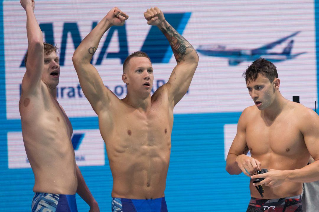 Watch USA Men Edge Brazil to Win 400 Free Relay at Worlds (Video)