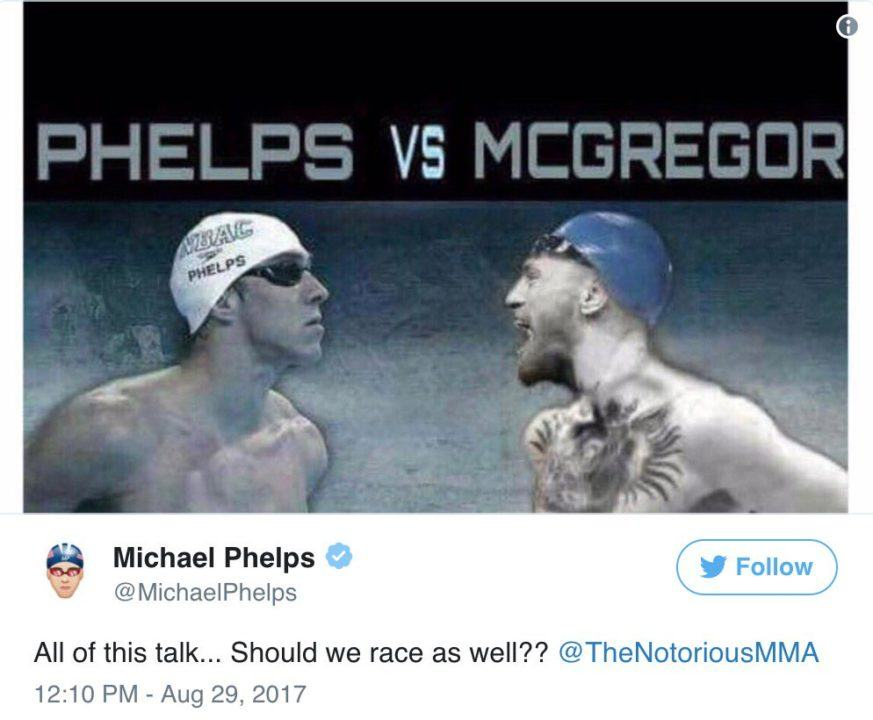 First a Shark, Now McGregor? Phelps Tweets About Racing the UFC Champ