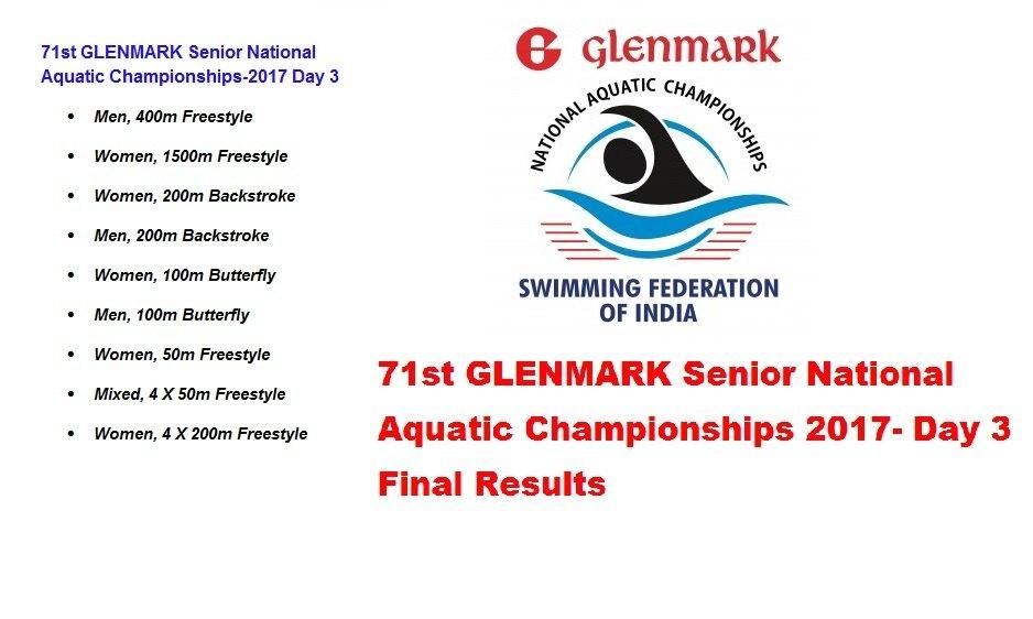 71st GLENMARK Senior National Aquatic Championships Day 3 Final Result