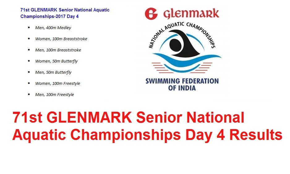 71st GLENMARK Senior National Aquatic Championships 2017 Day 4 Results