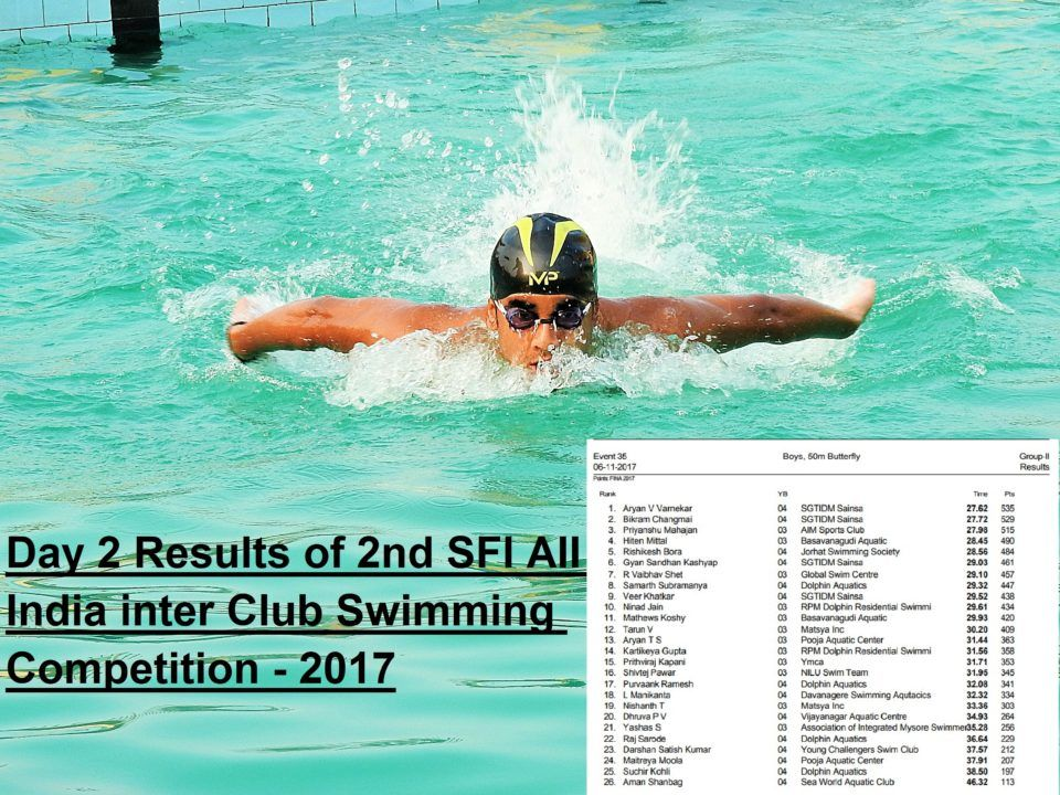 Day 2 Results – 2nd SFI ALL India Inter-Club Swimming Competition-2017