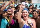 "Missy Franklin, Los Angeles, California. Missy at the USA Swimming Foundation ""Make a Splash"" tour stop at the Expo pool in central Los Angeles."