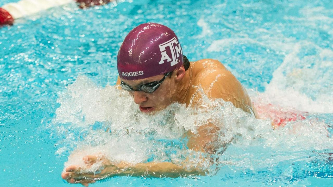 Mauro Castillo Drops 1:56 200 Breast as Texas A&M Men Close Out SMU