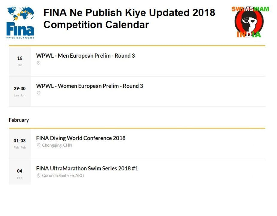 FINA Ne Publish Kiye Updated 2018 Competition Calendar