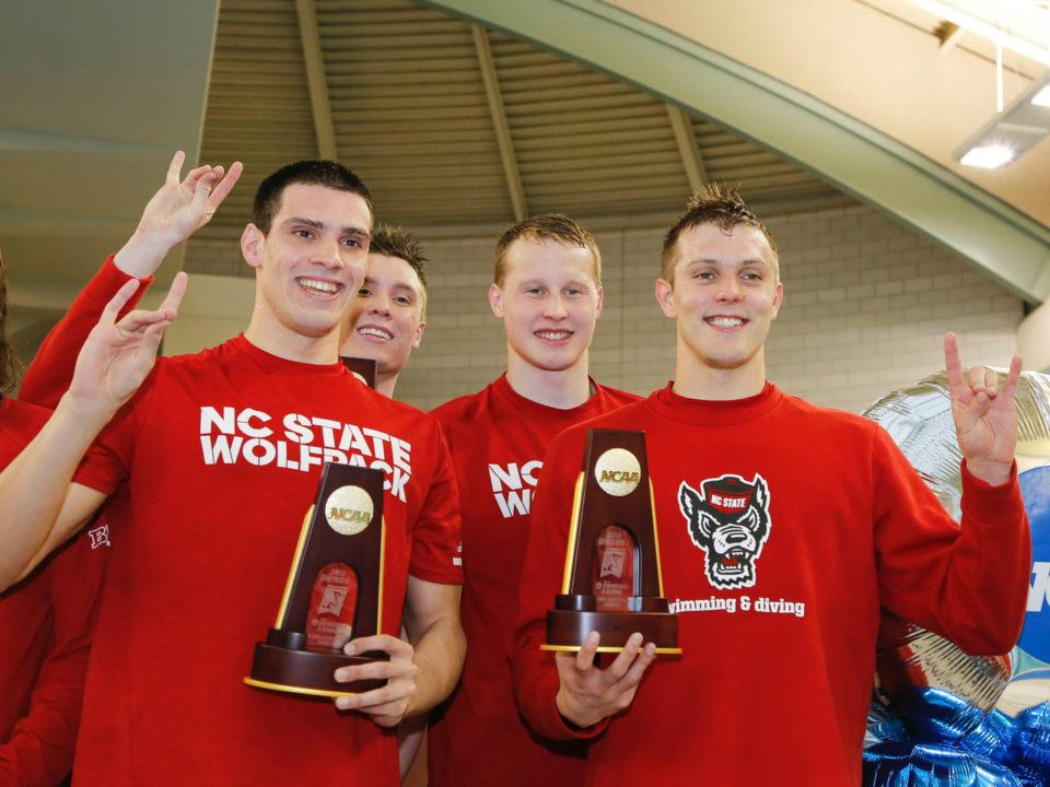 NC State Posts Blistering 6:05.3 for NCAA Record in 800 Free Relay