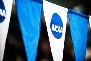 NCAA swimming backstroke flags by Mike Lewis