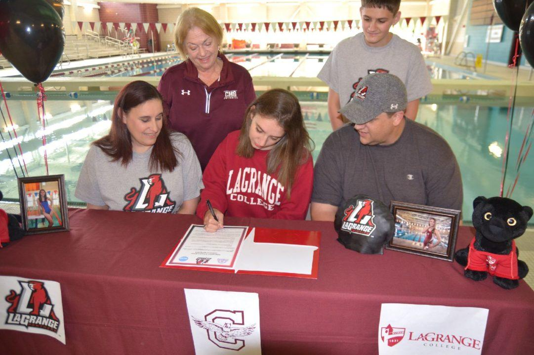 Emily O'Neil Signs with LaGrange as 1st-Ever Recruited Swimmer from Club, High School