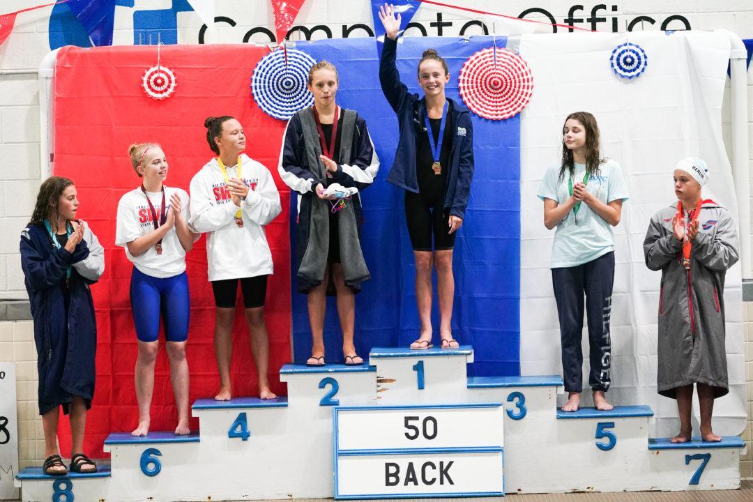 Maggie Wanezek Breaks Keaton Blovad's 11-12 Backstroke NAG Record