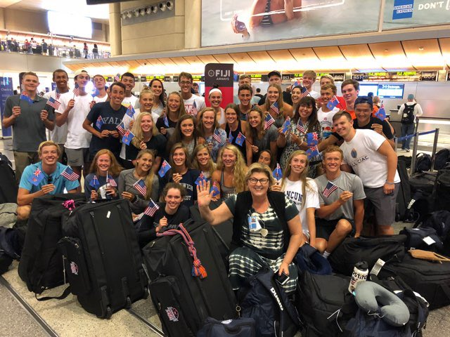 Fiji Airlines Gives USA Swimming Jr. Team a Rousing Sendoff