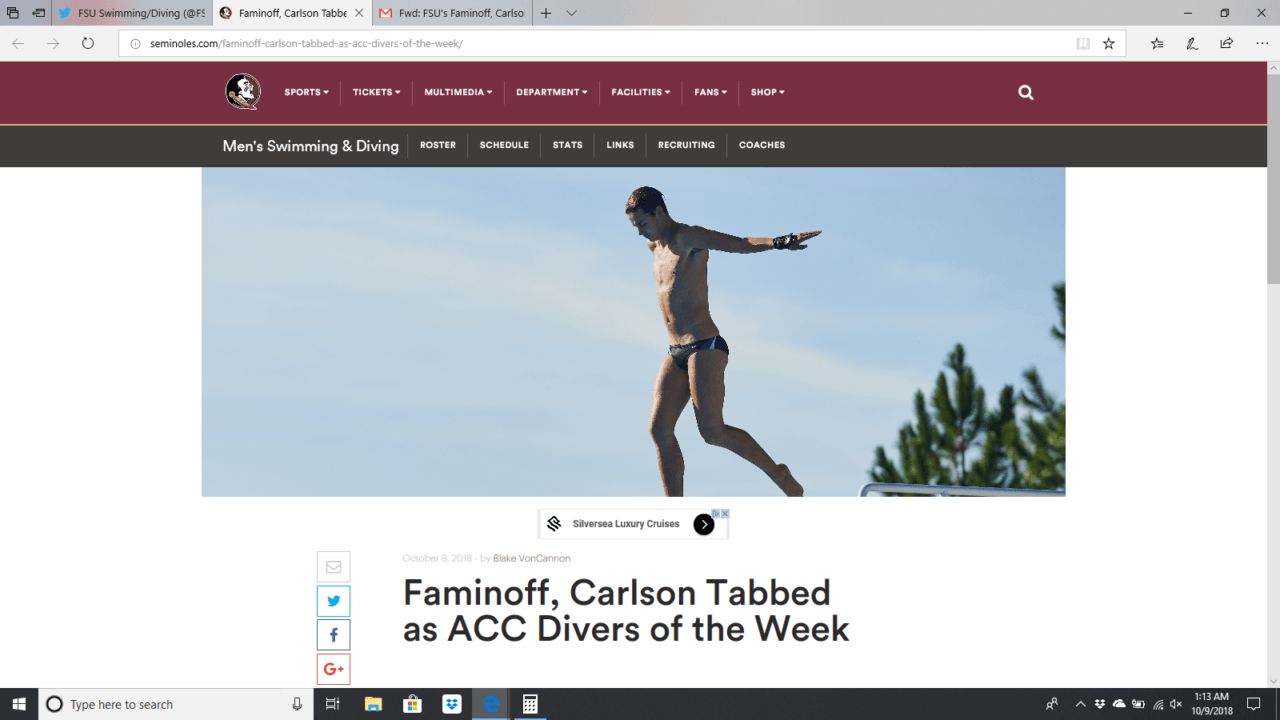 Faminoff, Carlson Earn ACC Diver of the Week Honors