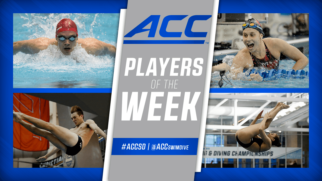 NC State's Andreas Vazaios has been selected as the ACC Men's Swimmer of the Week, and Virginia Tech's Ben Schiesl has been named the Diver of the Week. On the women's side, Louisville's Mallory Co…
