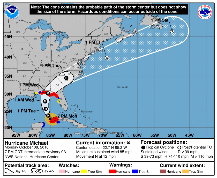 Tropical Storm Michael Will Become a Hurricane Monday