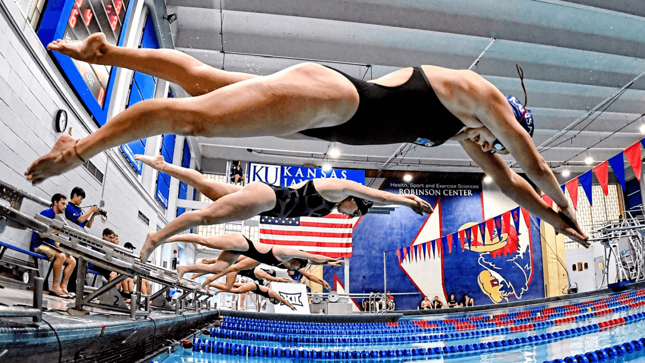 Kansas Sweeps Swimming Events Against TCU
