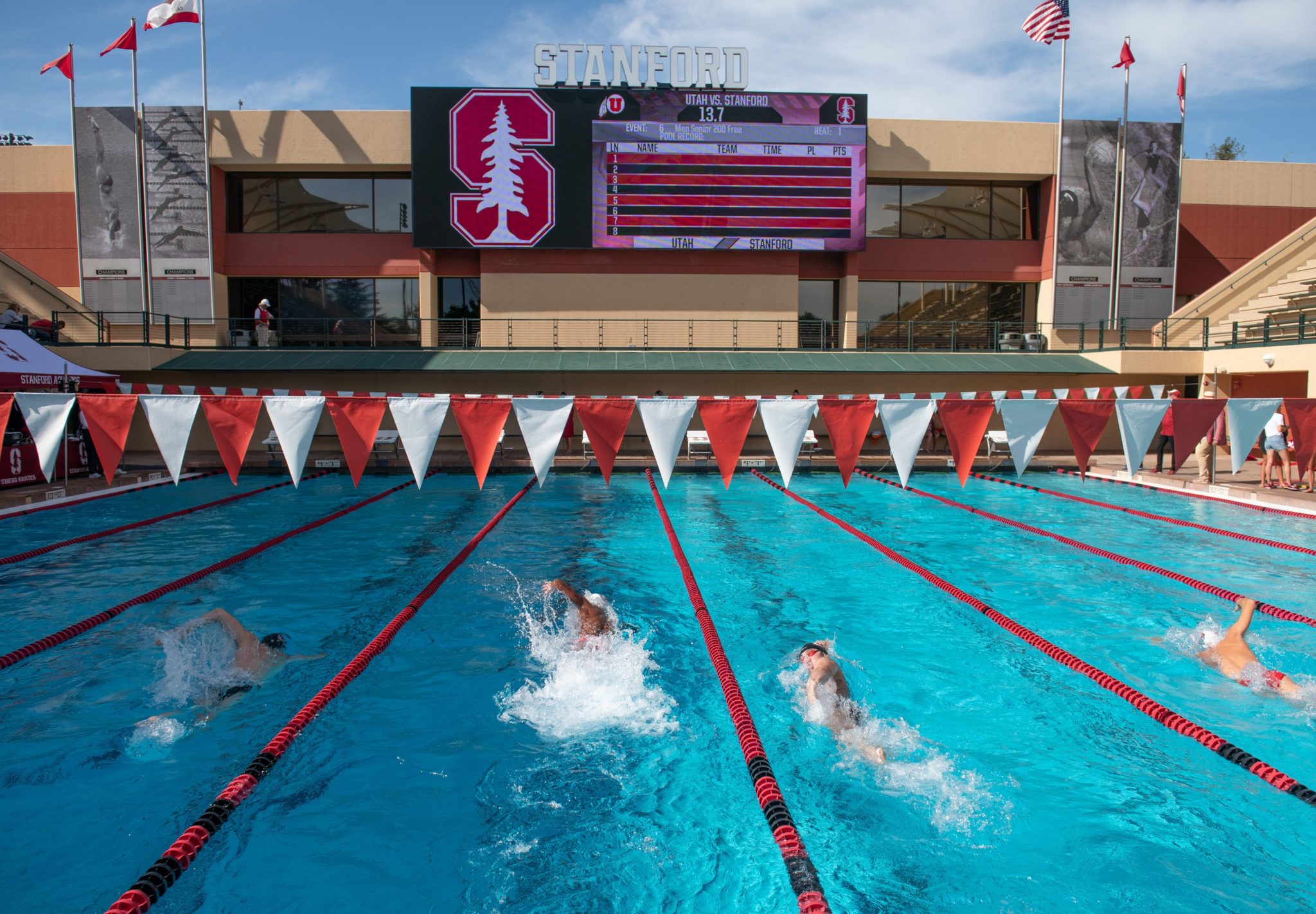Stanford's Avery Aquatic Center Unveils Huge New Scoreboard