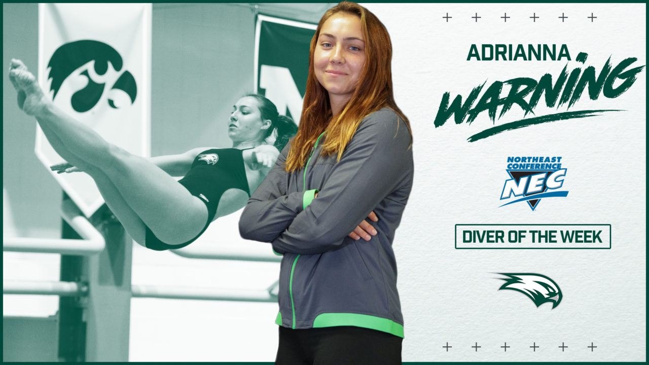 Wagner's Adrianna Warning Tabbed as NEC Diver of the Week
