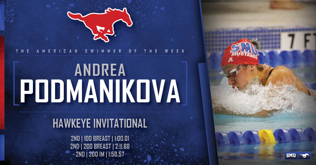 SMU's Podmanikova Tabbed as American Swimmer of the Week