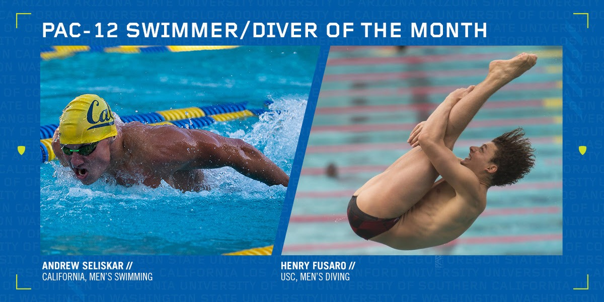 Cal's Seliskar, USC's Fusaro Named Pac-12 Swimmer, Diver of the Month
