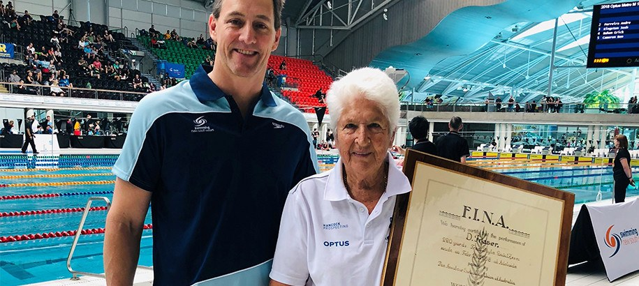 Fraser Presented 1950s World Record Certificates at 2018 SNSW Champs