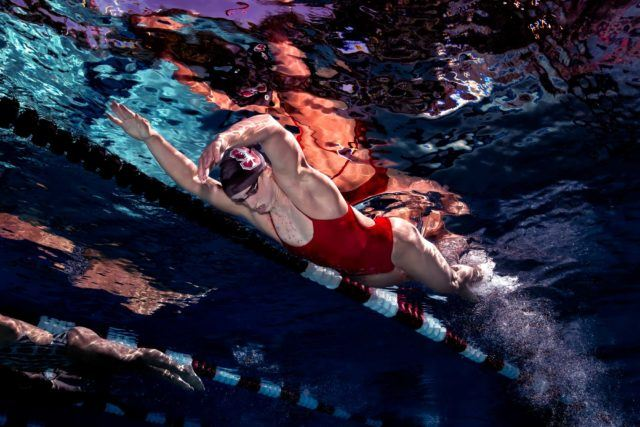 Katie Ledecky swimming underwater