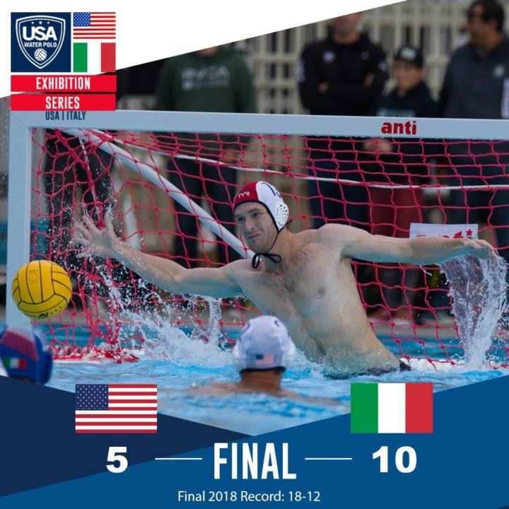 USA Men Drop 10-5 Match to Italy to Close Out 2018 Slate
