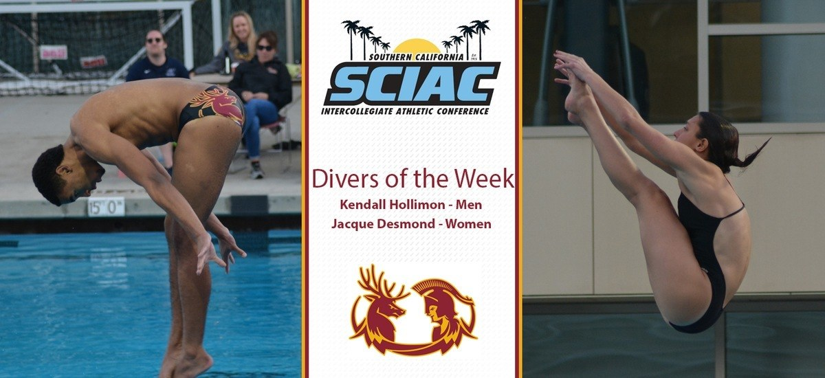 Hollimon, Desmond Sweep SCIAC Weekly Diving Awards