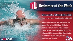 Mendolicchio Repeats as Mountain West Swimmer of the Week