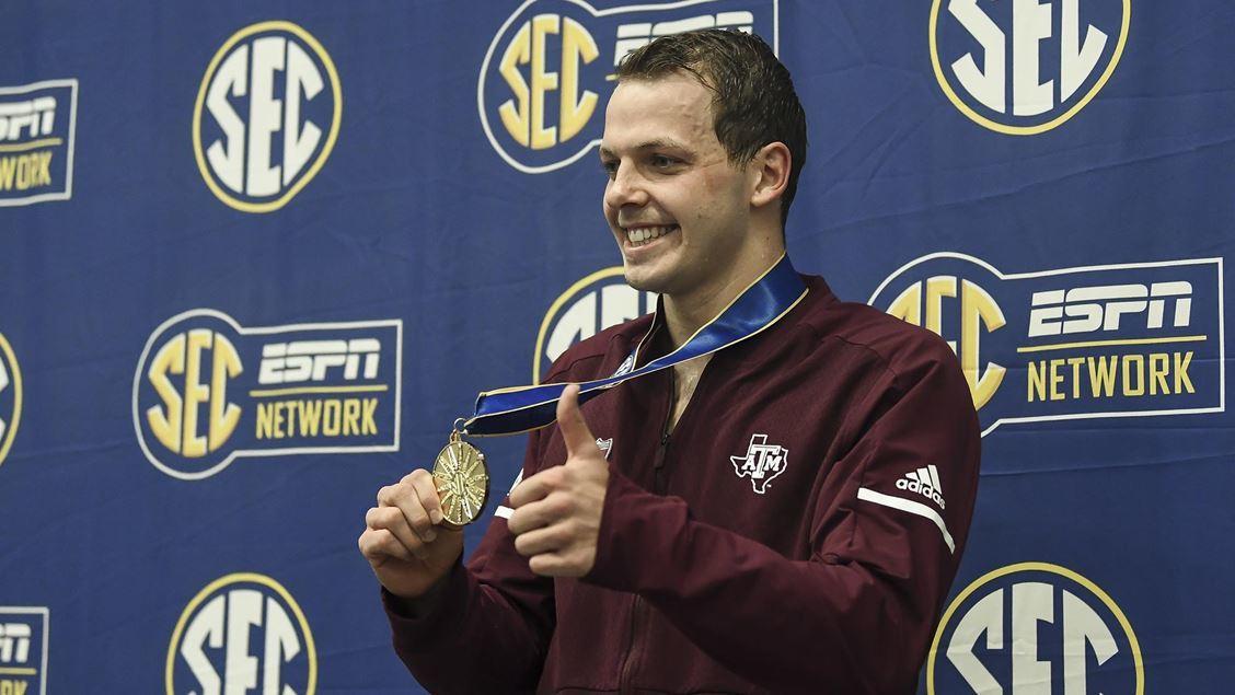 Benjamin Walker Wins A&M Men's First SEC Swimming Title