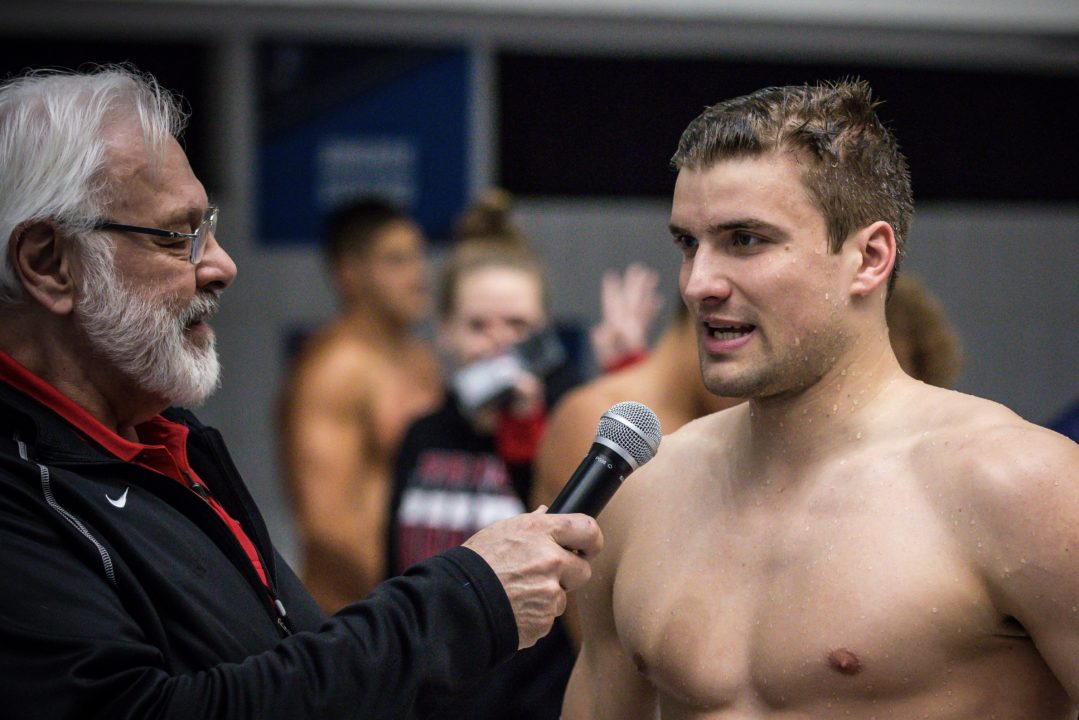 Marius Kusch of Queens Downs NCAA D2 Record in 100 Back with 45.09