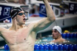 NCAA All-American Paul DeLakis on 40×100 SCM Best Average with Caeleb Dressel