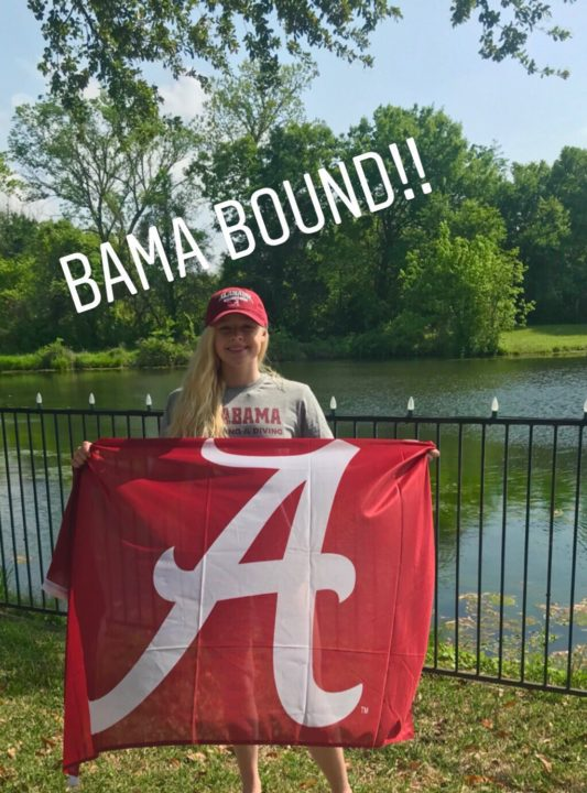 Mansfield Aquatic Club Backstroker Maddie Mechling Verbals to Alabama