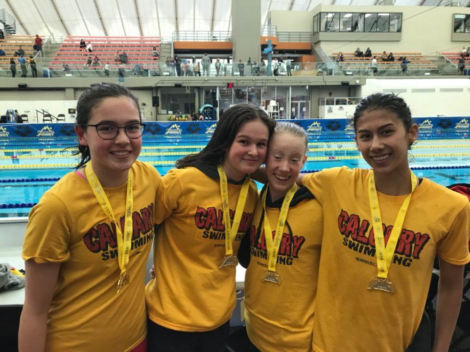 University of Calgary Swim Club Girls Break 13-14 NAG In 200 Medley Relay