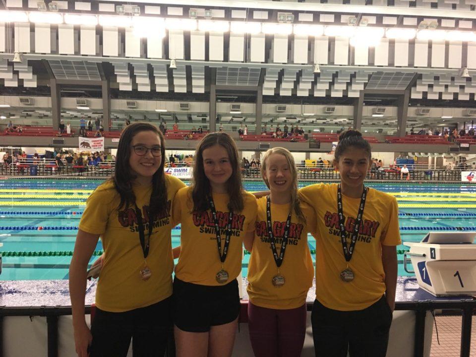 University of Calgary Swim Club Girls Break NAG In 13-14 400 Medley Relay