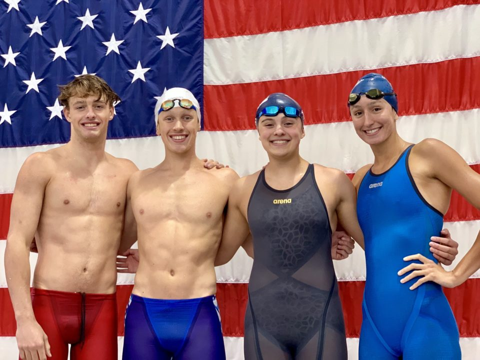 Mason Manta Rays Break 15-18 National Age Group Record in Mixed Medley Relay