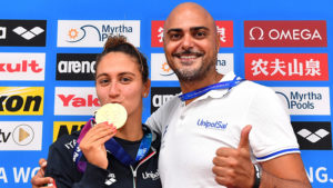 QUADARELLA Simona ITA Italy Gold Medal , Christian Minotti coach Women's 1500m Freestyle Gwangju South Korea 23/07/2019 Swimming 18th FINA World Aquatics Championships Nambu University Aquatics Center Photo © Andrea Staccioli / Deepbluemedia / Insidefoto