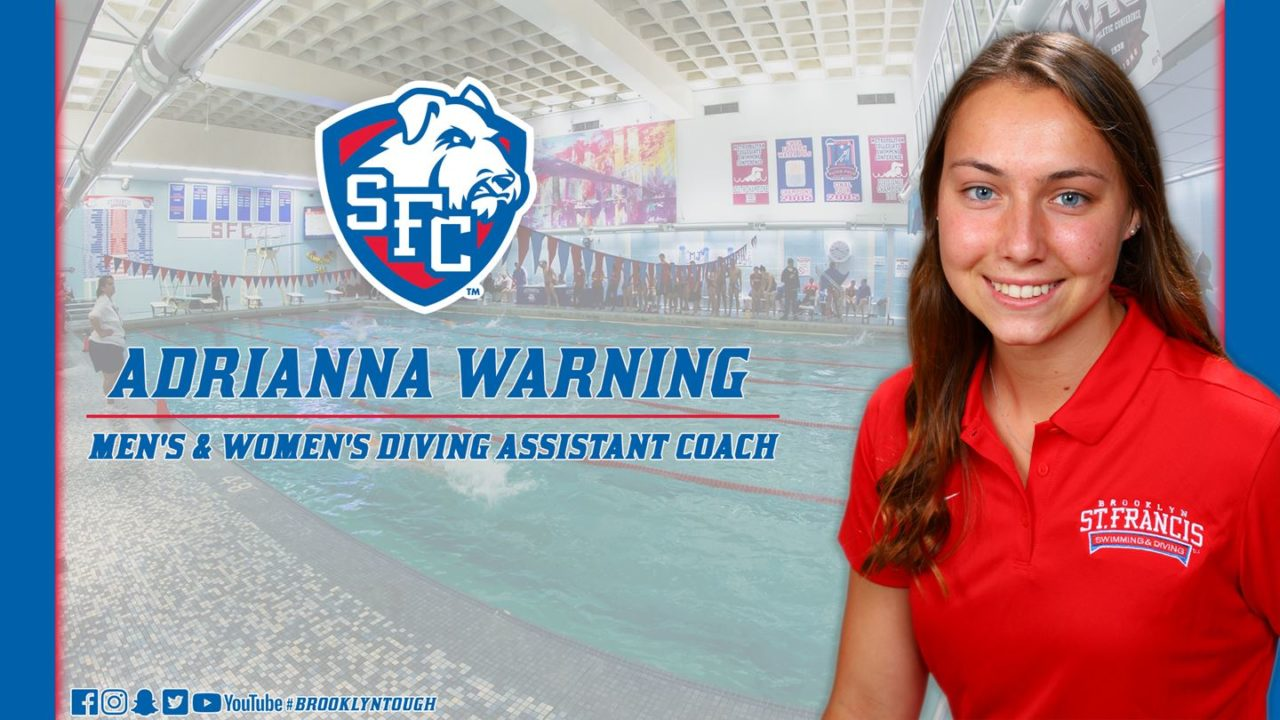 Adrianna Warning Named Diving Assistant Coach at St. Francis Brooklyn