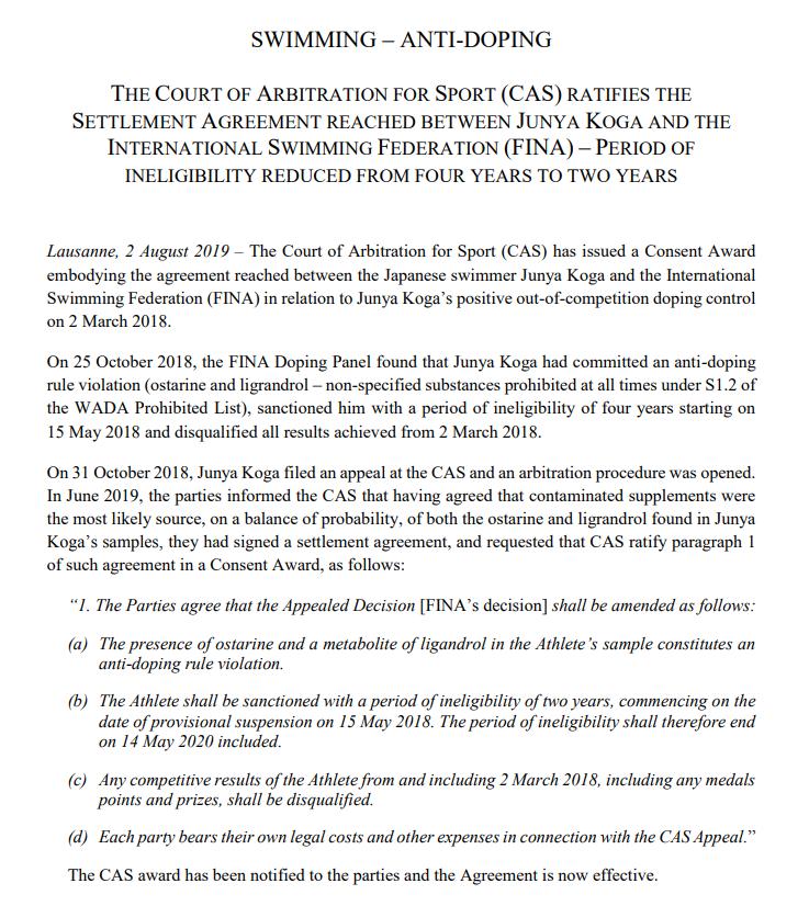 Koga's Ban For Ligandrol Ratified, Revealing A Potential