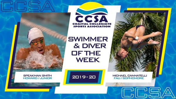 Smith, Cannatelli Tabbed as CCSA Men's Swimmer, Diver of the Week