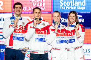 Team Russia Gold Medal 4x50 medley relay mixed Final Glasgow 05/12/2019 XX LEN European Short Course Swimming Championships 2019 Tollcross International Swimming Centre Photo Giorgio Scala / Deepbluemedia / Insidefoto